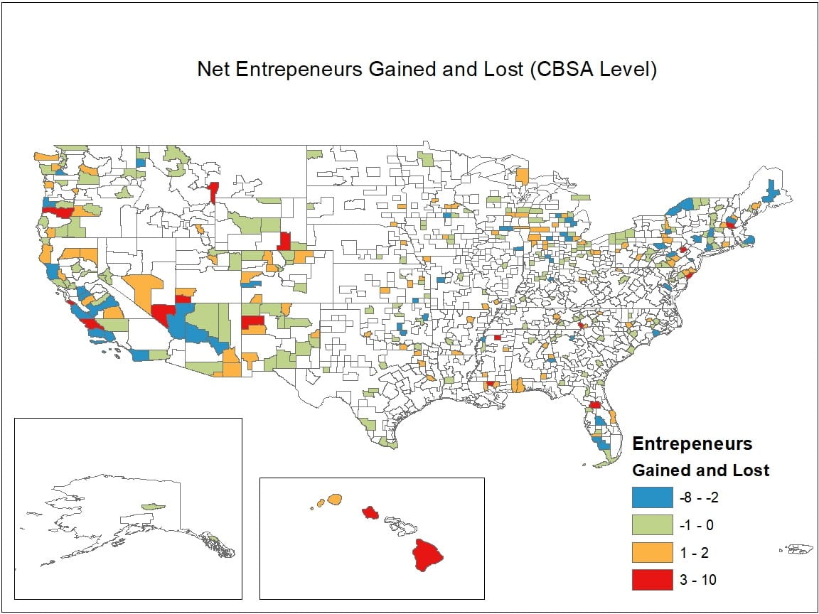 Map of net entrepreneurs gained and lost by CBSA level